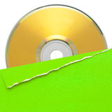 Blank compact disc with green cover Stock Photo