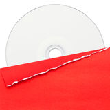 Blank compact disc with red cover Royalty Free Stock Image