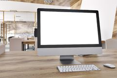 Blank computer screen in a marble office royalty free stock photo