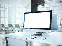 Blank computer screen with white chair. 3d rendering Stock Photography
