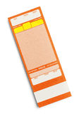 Blank Concert Ticket. Orange Event Ticket With Copy Space Isolated on a White Background Stock Photo