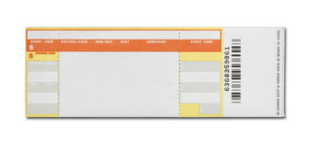 Blank Concert Ticket. Orange and Yellow Event Ticket Isolated on White Background Stock Photo