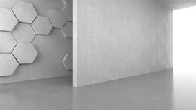 Blank concrete wall with hexagons pattern background with bright light from entrance. 3D rendering stock illustration