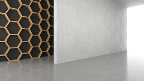 Blank concrete wall with hexagons pattern background with bright light from entrance. 3D rendering Stock Images