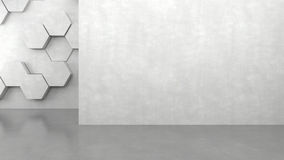 Blank concrete wall with hexagons pattern background. 3D rendering vector illustration