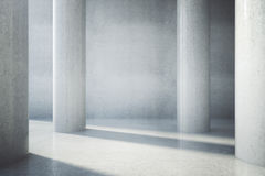 Blank concrete wall. Blank wall in concrete interior with columns and daylight. Mock up, 3D Rendering Royalty Free Stock Photos