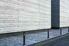 Blank concrete wall. Large blank modern street concrete wall with lights on sidewalk. 3D render Stock Photos