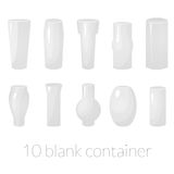 Blank container vector set. Dimensional models of vases Royalty Free Stock Photos