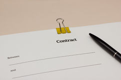 Blank contract Stock Image