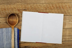 Blank cookbook. Open cookbook with blank pages for backgrounds Royalty Free Stock Photography