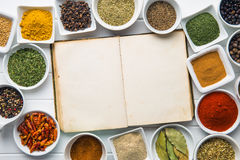 Blank cookbook and various spices. Stock Photo