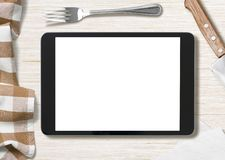 Blank cooking recipe notes on black tablet pc Royalty Free Stock Image