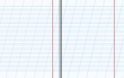 Copy Book Sheets with Lined Texture. Blank Copy Book Sheets with Lined Texture. Vector Illustration Stock Photo