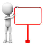Blank copy space. On a red board standing on white background, little 3d man pointing to the empty white space Stock Images