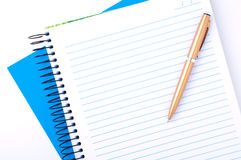 blank copybook and pen Stock Photos