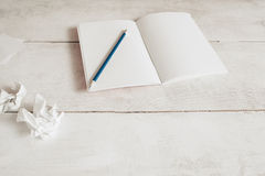 Blank copybook with pencil on table, free space Royalty Free Stock Image