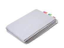 Blank copybook with stickers Royalty Free Stock Photo