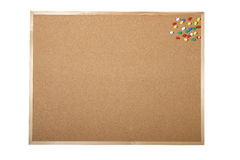 Blank cork board. With pins isolated on white background Royalty Free Stock Images