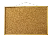 Blank cork board isolated on white. Reminder wooden board isolated on white Royalty Free Stock Photo