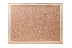 Blank cork board with a wooden frame isolated Stock Image