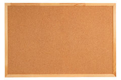 Blank cork board with wooden frame. Isolated on white background Stock Photos