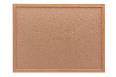 Blank cork board and wooden frame on white background with clipp Stock Photo