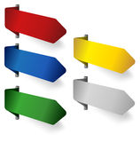 Blank corner ribbons in various colors. On white background vector illustration