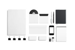 Blank Corporate ID Set. Isolated on white. Consist of Business cards, envelopes, a4 letterheads, notebooks, flash, pencile, cd disk and smart phone Royalty Free Stock Photos