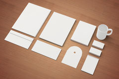Blank Corporate identity templates. Corporate identity templates:blank, business cards, disk, envelope, cup, brand-book, note. Isolated with soft shadows on Stock Image