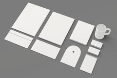 Blank Corporate identity templates. Corporate identity templates:blank, business cards, disk, envelope, cup, brand-book, note.  with soft shadows on grey Stock Photography