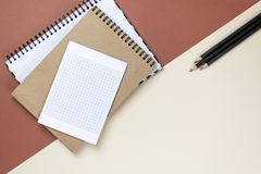 Blank corporate stationery set on brown background. Branding mock up. Flat lay. stock photos
