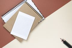 Blank corporate stationery set on brown background. Branding mock up. Flat lay. royalty free stock images