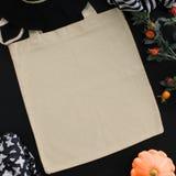 Blank cotton tote bag, design mockup. Handmade shopping bags. Halloween, Thanksgiving, autumn holidays themed Stock Photography