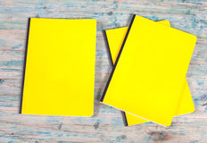 Blank cover book on wood Stock Photos