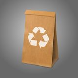 Blank craft vector realistic paper packaging bag Royalty Free Stock Photos