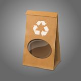 Blank craft vector realistic paper packaging bag Stock Images