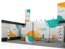 Blank creative exhibition stand design with color shapes. Booth template. Stock Photography