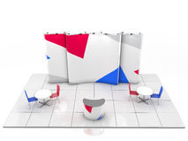 Blank creative exhibition stand design with color shapes. Booth template. 3D render Royalty Free Stock Photo