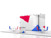 Blank creative exhibition stand design with color shapes. Booth template. 3D render Stock Photos