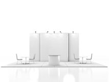 Blank creative exhibition stand design with color shapes. Booth template. 3D render Stock Image