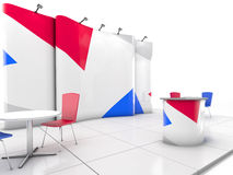 Blank creative exhibition stand design with color shapes. Booth template. 3D render. Blank creative exhibition stand design with color shapes. Booth template Royalty Free Stock Photography