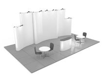 Blank creative exhibition stand design with color shapes. Booth template 02. 3D render Royalty Free Stock Photo
