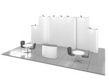 Blank creative exhibition stand design with color shapes. Booth template 02. 3D render Stock Photography