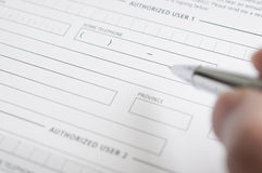 Blank credit application form Stock Images