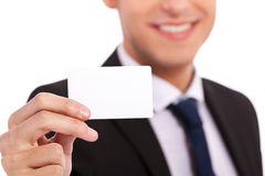 Blank Credit Card in Business man Hand Royalty Free Stock Images