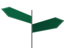 Blank Crossroad Signs. Blank green crossroad signs on white background Royalty Free Stock Photos