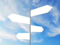 Blank Crossroad Signs. Blank white crossroad signs on cloudy sky Royalty Free Stock Image