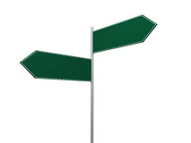 Blank Crossroad Signs. Blank, green left and right arrow crossroad sign template, isolated on white background Royalty Free Stock Photography