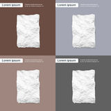Blank Crumpled Paper Sheet, Empty Page Texture Stock Photo