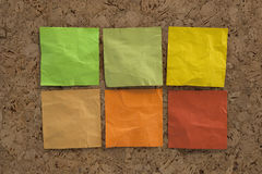 Blank crumpled sticky notes in earth colors Stock Photo